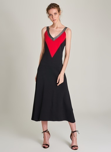Ng Style V Yaka Renk Bloklu Elbise Siyah